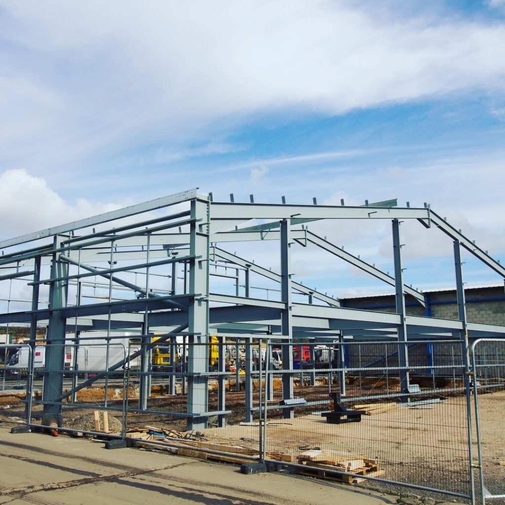 Steel frame erected